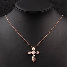 """Хрестик з ланцюжком жіночий """"Адар"""" з камінням (фіаніти) позолота рожеве золото 9К"""
