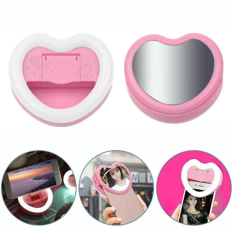 Селфи кольцо в форме сердца c зеркальцем и подставкой под смартфон 3 в1 Mirror Heart  Белый