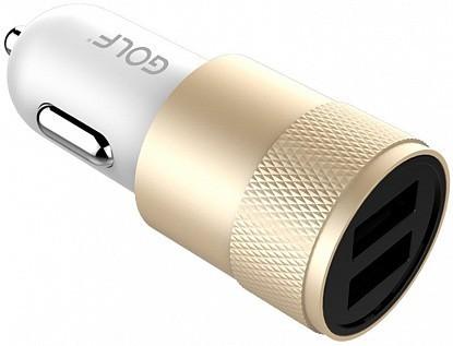 Автомобильное зарядное устройство GOLF GF-C13 Car charger 2USB 2.1A Gold