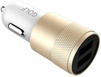 Автомобильное зарядное устройство GOLF GF-C13 Car charger 2USB 2.1A Gold, фото 1