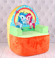 Мягкое детское кресло с Единорогами, плюшевое кресло с единорогами, 60 см.