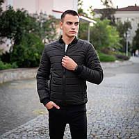 Модная мужская осенняя куртка без капюшона черная, Бомбер демисезонная мужская куртки