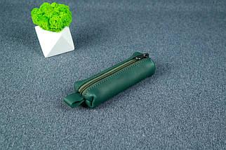 Ключница на молнии, кожа Итальянский краст, цвет Зеленый, фото 3