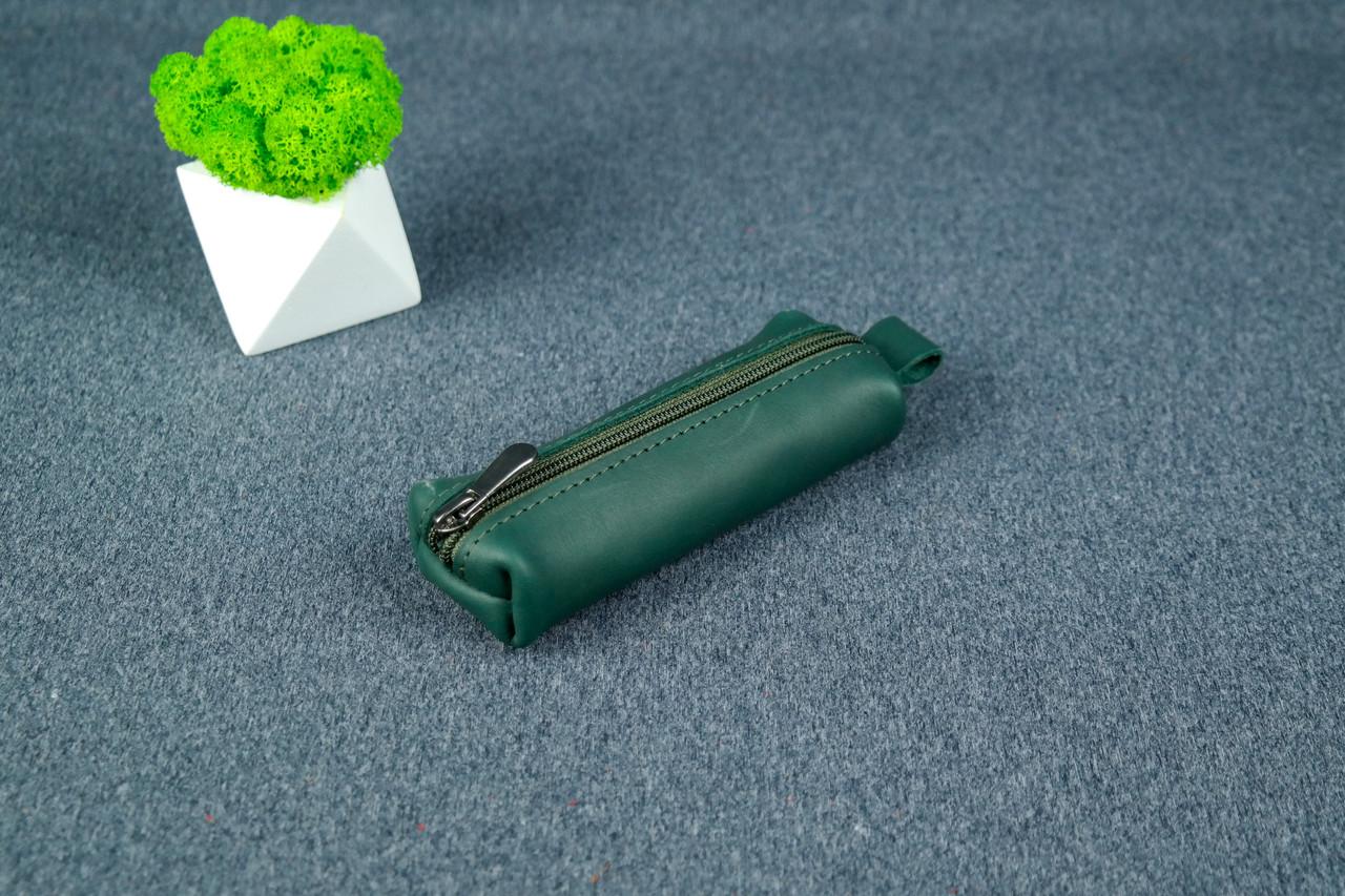 Ключница на молнии, кожа Итальянский краст, цвет Зеленый