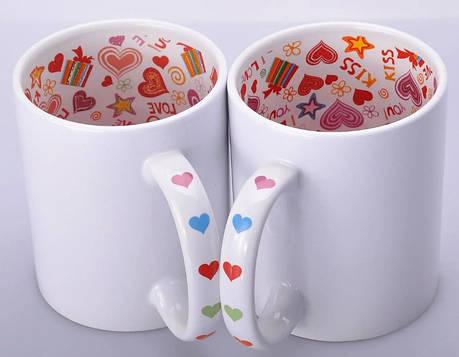 Чашка керамическая I Love You с рисунком внутри и на ручке 330 мл, фото 2