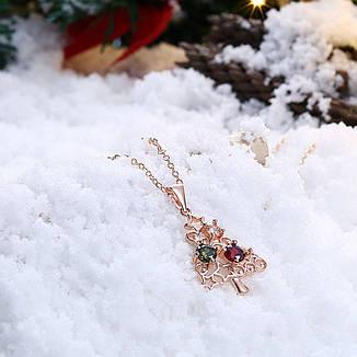 """Кольє кулон жіночий в новорічному стилі """"Ялинка"""" фіаніти позолота, фото 2"""