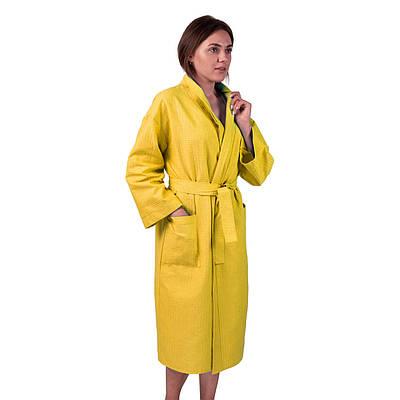 Вафельний халат Luxyart Кімоно розмір (54-56) XL 100% бавовна жовтий (LS-161)