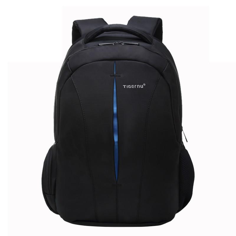 """Рюкзак городской TIGERNU T-B3105 +навесной замок, для ноутбука 15.6"""" Черный/ синий"""