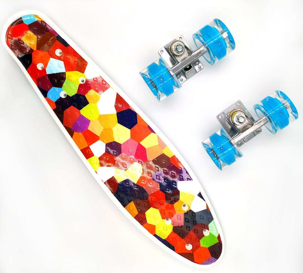 Пенни борд со светящимися колесами Best Board Мозаика