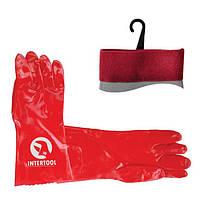 Рукавичка маслостійке х/б трикотаж покритий PVC, 35 см (червона) INTERTOOL SP-0007