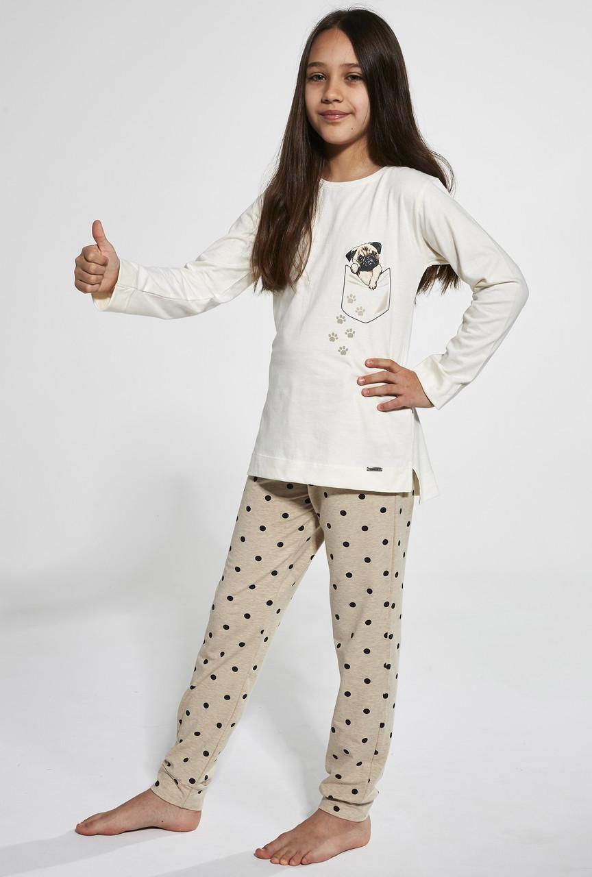 Пижама хлопковая для девочки Cornette Pug, 122-128