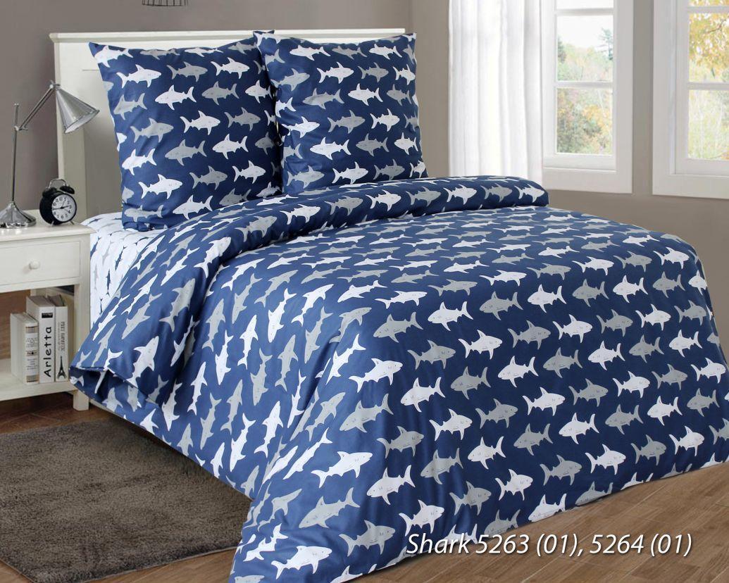 Бязь х/б для постельного белья напечатанная SHARKS