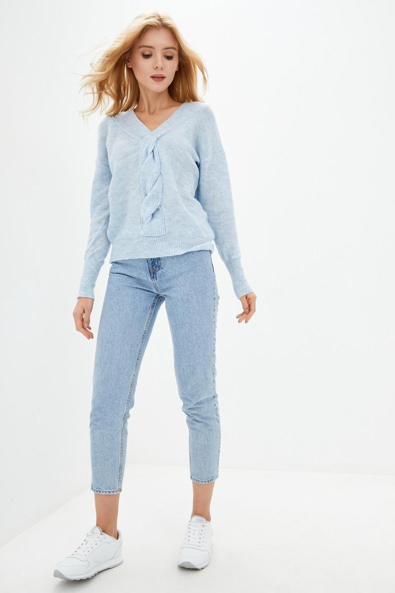 Вязаный джемпер с декоративным плетением. Цвет голубой. Размер 42-44, 46-48