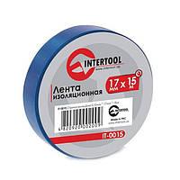 Стрічка ізоляційна 0,15 мм x 17 мм x 15 м синя INTERTOOL IT-0015