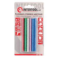 Комплект цветных перламутровых клеевых стержней 7.4мм*100мм, 12шт INTERTOOL RT-1033