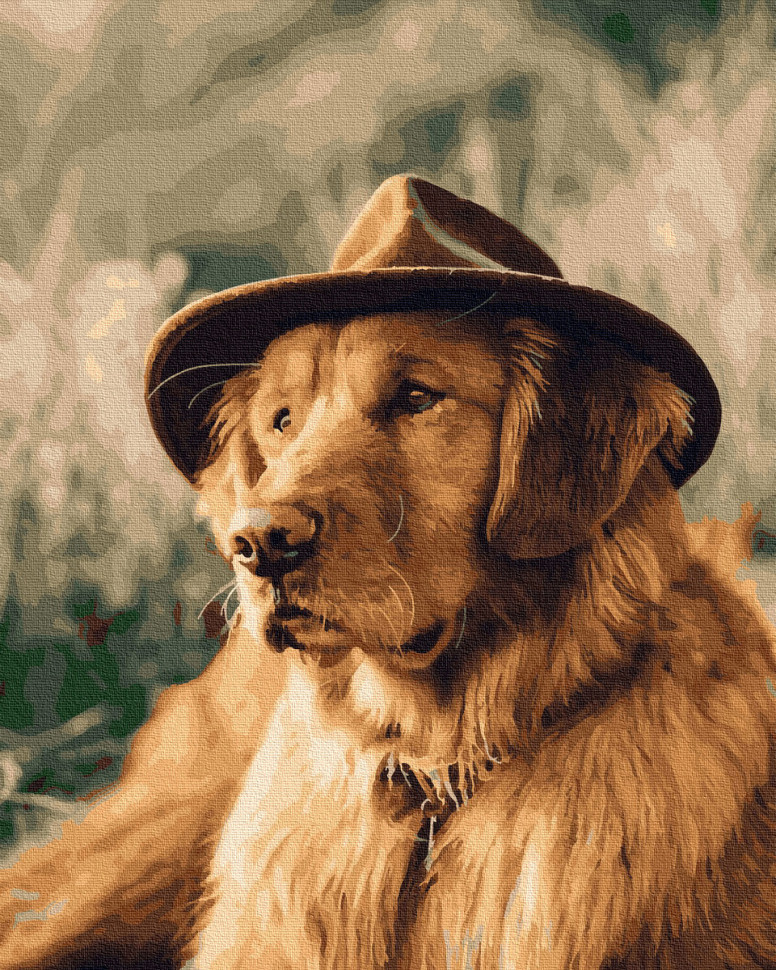"Яркая картина раскраска по номерам Rainbow Art ""Собака в шляпе"" GX30821-RA живопись рисование в цифрах на"