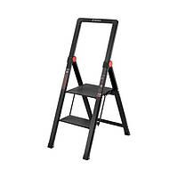 """Стрем'янка алюмінієва Black Slim"""", 2 ступені, висота верхньої сходинки 456мм, 150 кг, STORM INTERTOOL LT-5002"""