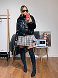 Женская куртка объемная короткая из экокожи с воротником стойкой (р. 42-46) 301579, фото 2