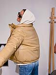 Женская куртка объемная короткая из экокожи с воротником стойкой (р. 42-46) 301579, фото 5