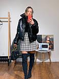 Женская куртка объемная короткая из экокожи с воротником стойкой (р. 42-46) 301579, фото 6