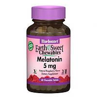Мелатонин 5 мг Вкус Малины Earth Sweet Chewables Bluebonnet Nutrition 60 жевательных таблеток