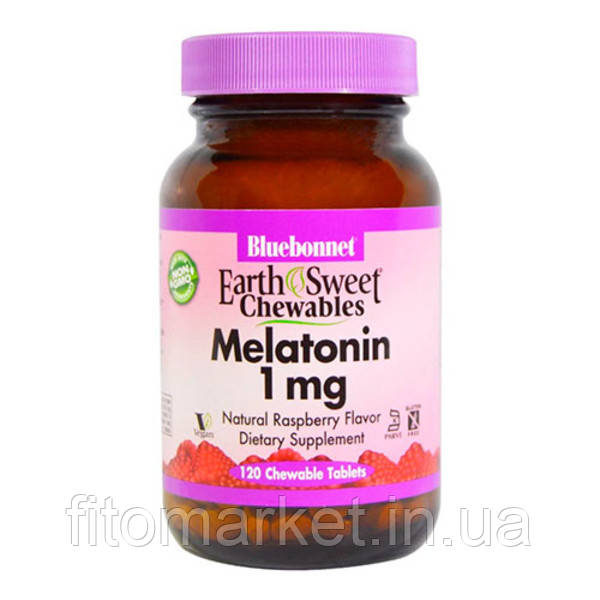 Мелатонин 1 мг Bluebonnet Nutrition EarthSweet Малиновый Вкус 120 жевательных таблеток