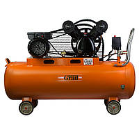 Компрессор ременной V 2.5кВт 378л/мин 8бар 100л (2 крана) GRAD (7044185)
