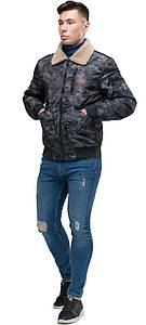 Куртка бомбер на осень мужская тёмно-серого цвета модель 38666