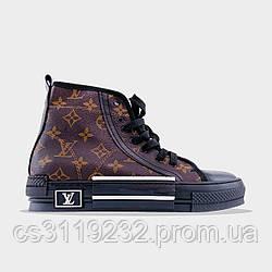 Женские кроссовки Louis Vuitton B23 (коричневые)
