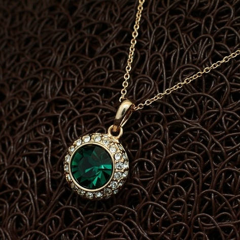 """Колье позолота """"Альфа III"""" женский стильный кулон зеленный кристалл Сваровски, фото 2"""