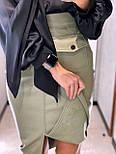 Кожаная юбка карандаш с разрезом и накладными карманами длиной миди (р. 42, 44) 8311455, фото 5