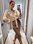 Кожаная юбка карандаш с разрезом и накладными карманами длиной миди (р. 42, 44) 8311455, фото 3