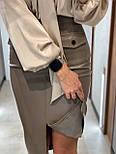 Кожаная юбка карандаш с разрезом и накладными карманами длиной миди (р. 42, 44) 8311455, фото 7