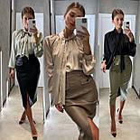 Кожаная юбка карандаш с разрезом и накладными карманами длиной миди (р. 42, 44) 8311455, фото 6
