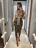 Кожаная юбка карандаш с разрезом и накладными карманами длиной миди (р. 42, 44) 8311455, фото 8