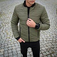 Модная мужская осенняя куртка без капюшона хаки, Бомбер демисезонная мужская куртки