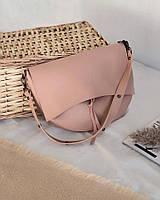 Стильна жіноча сумка пудрового цвета сумка через плечо пудровые