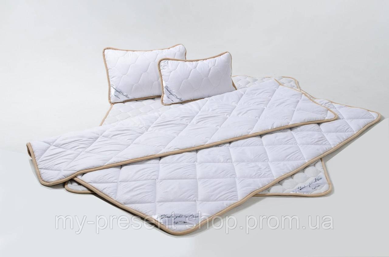 Комплект Goodnight.Store (Max): Ковдра 140х200 + Наматрасник 100х200 + Подушка 40х60 Односпальний колір Білий