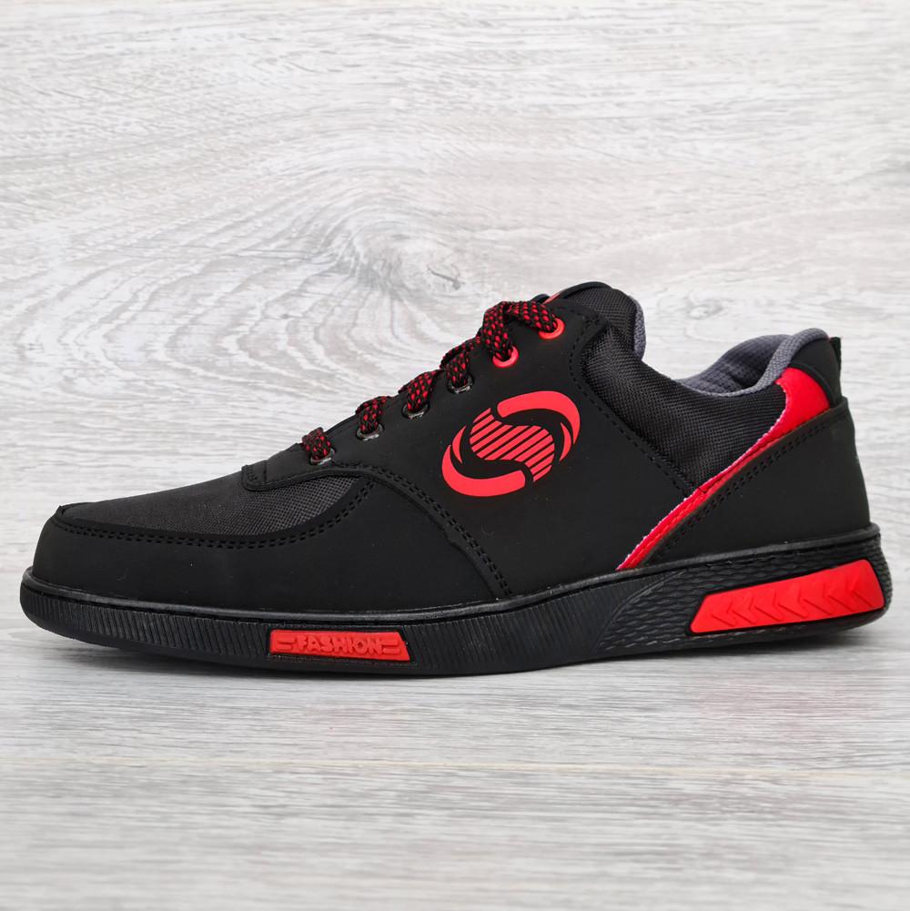 Кроссовки мужские черные с красными вставками (Сгк-32чр)