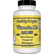 Витамин D3, Vitamin D3, 5000 IU, Healthy Origins, 30 капсул