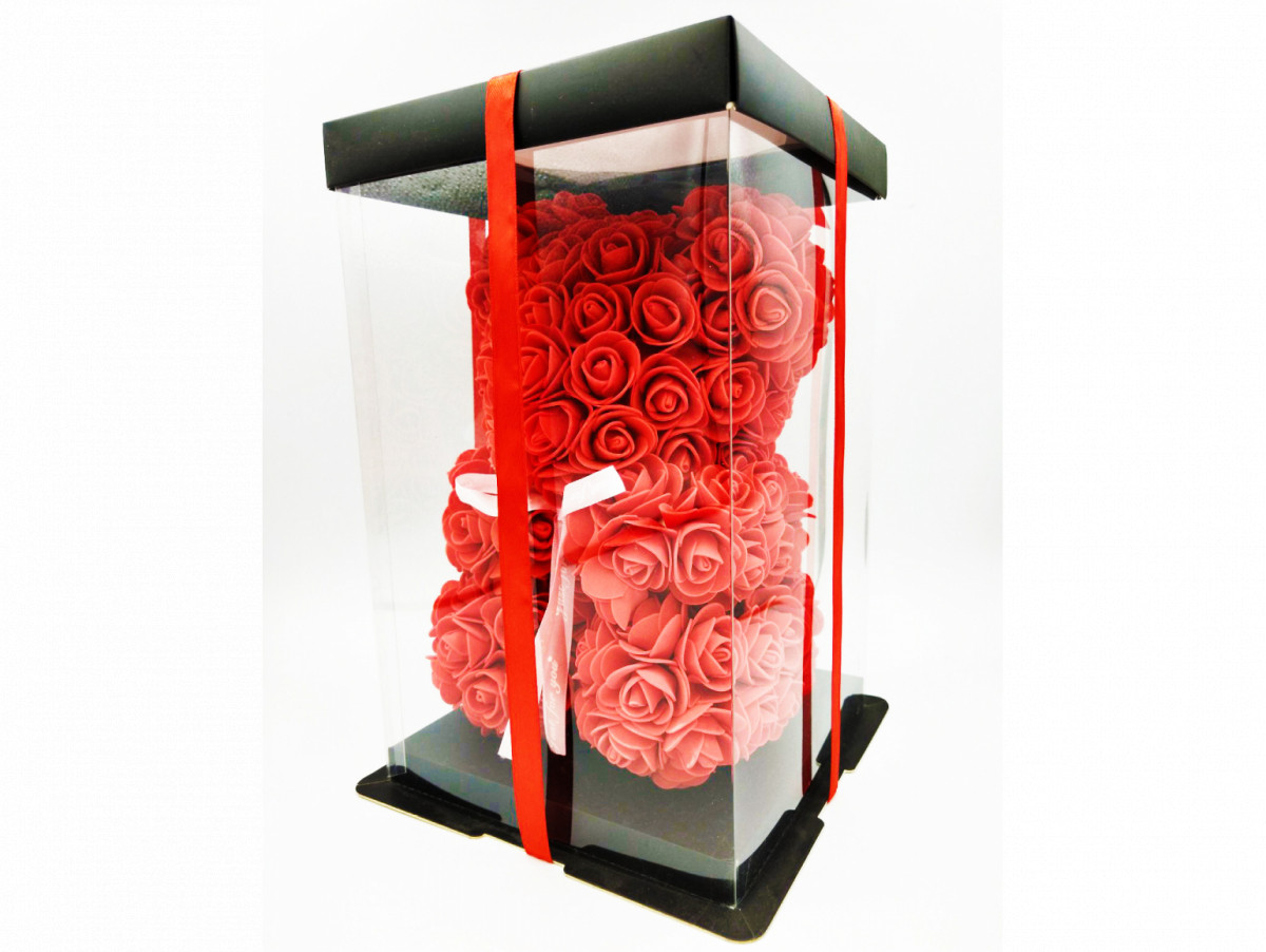Мишко з троянд 40 см червоний