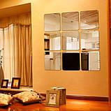 Набір акрилових дзеркал 6 шт 10×10 см × 1 мм срібло, фото 5