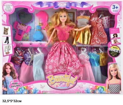 Лялька барбі з нарядами, 24 сукні