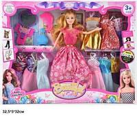 Кукла барби с нарядами платьями (4вида)