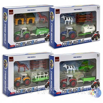 Трактор инерционный с прицепом, животными.