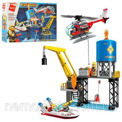 Конструктор пожарная станция, транспорт, фигурки Лего