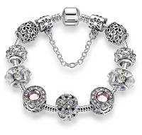 Женский браслет в стиле Пандора PANDORA Crystal Clover 18-20 см