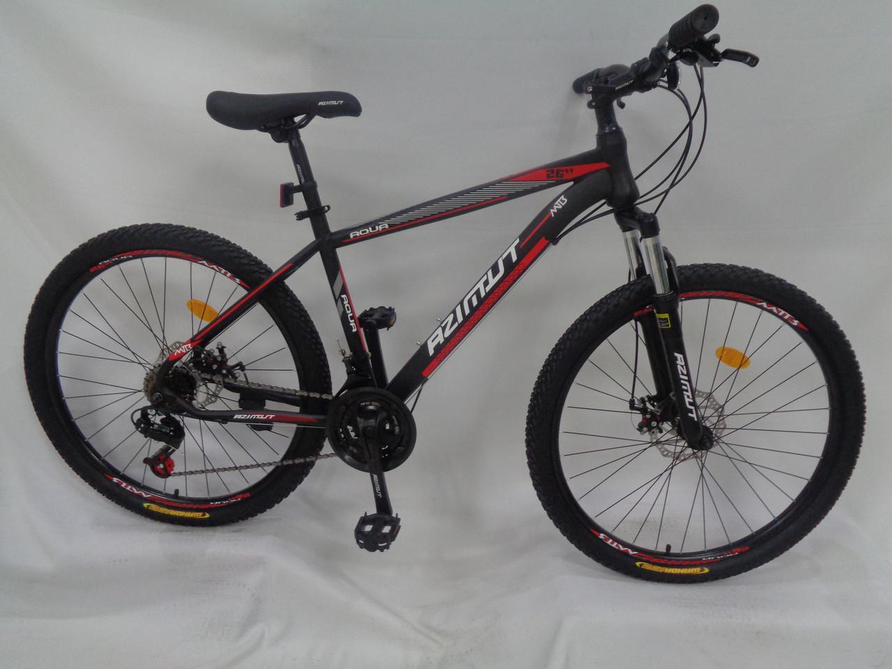 Спортивный горный велосипед 26 дюймов Azimut Aqua D 17 рама черно-красный