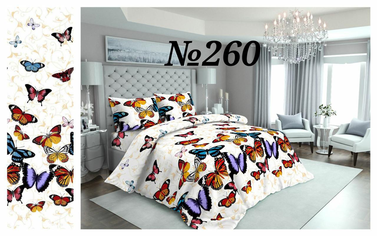 Постельное бельё Бязь GOLD Двуспальный с европростынью комплект ( бабочки на белом фоне)