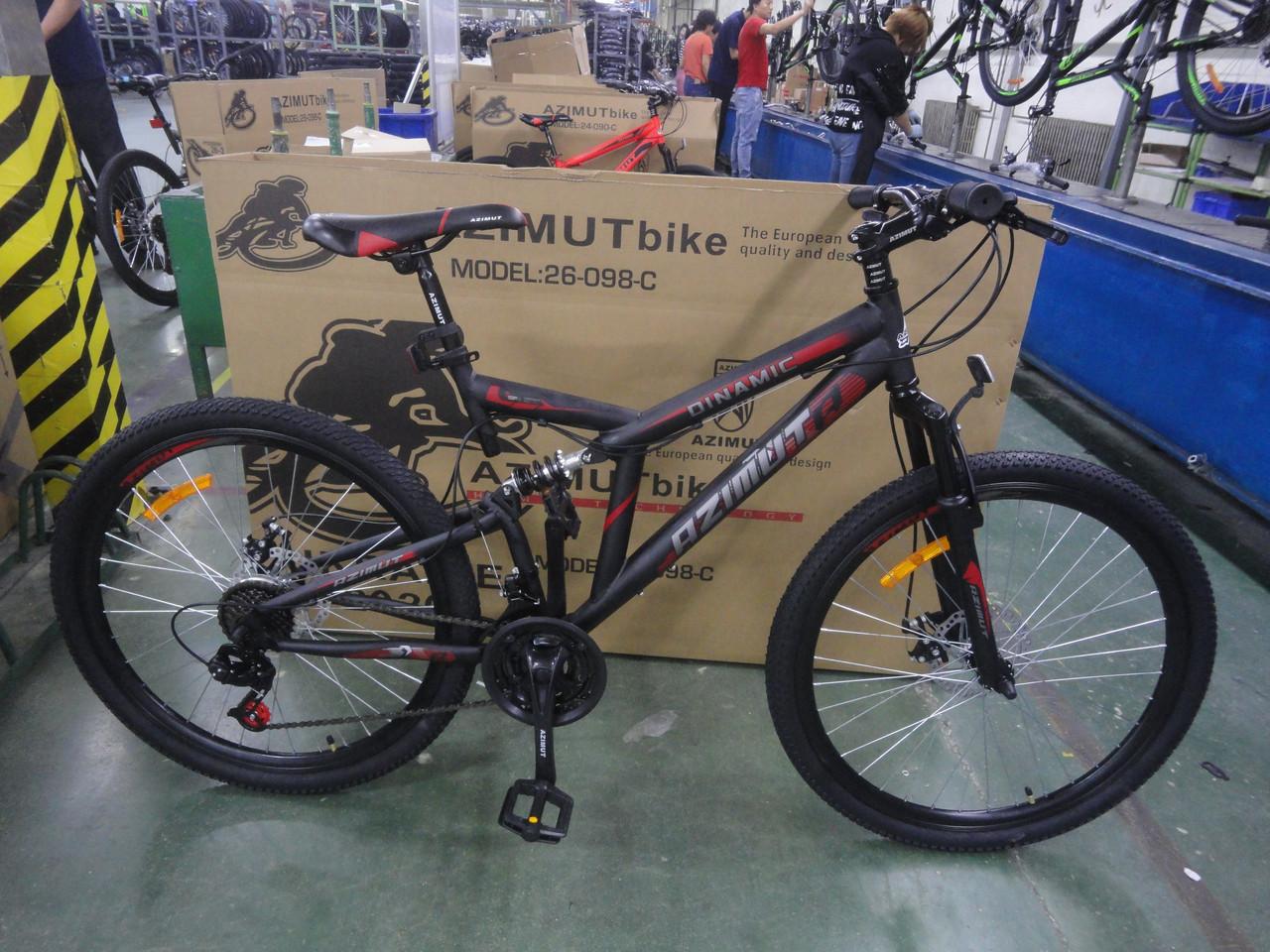 Спортивный горный велосипед 26 дюймов Azimut Dinamic D 18.5 рама черно-оранжевый